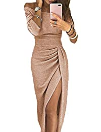 d131d70cb32c2 Yutila Damen Schulterfreies Kleid als Abendkleid Partykleid Ballkleid  Maxikleid elegant glänzend und hoch geschnitten