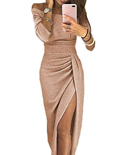 Yutila Damen Schulterfreies Kleid als Abendkleid Partykleid Silvester Neujahr Brautjungfer Hochzeit Maxikleid elegant glänzend und hoch geschnitten