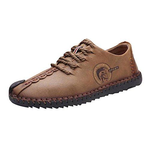 Herren-casual-boot-schuhe (hibote Herren Leder Freizeitschuhe Herren Britischen Stil Slip On/Schnürschuhe Casual Mode Flach Leder Loafer Schuhe Low-Top Sneakers Halbschuhe Slippers Gr.38-44)