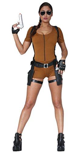 Fancy Dress Queen Damen Lara Croft Kostüm Tomb Raider 90er Jahre Videospiel Damen Kostüm - Lara Croft Fancy Dress Kostüm