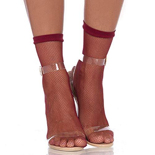Leg Avenue 3039-Fishnet Anklets, talla única, borgoña