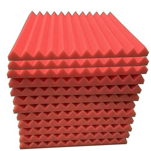 TIREOW 12 Stücke 3D Aufkleber Akustikschaum Platte Schalldämmung Schwamm Studio KTV Schalldicht Schaumstoff für Kinderzimmer Trommel Zimmer Tagungsräume (Rot)