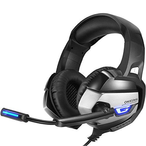 Cuffie Gaming PS4 per Giochi per PC con Microfono, Auricolare Stereo Onikuma K5 3.5mm con Controllo del Volume per Microfono per Xbox One, Mac per PlayStation 4 (Grigio)