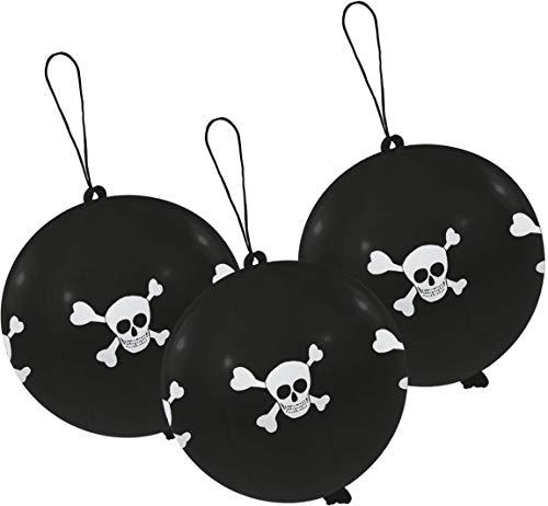amscan INT995793 3 Latexballons Punch Ball Pirat, - Pirate Kostüm Mit Schwarzem Rock