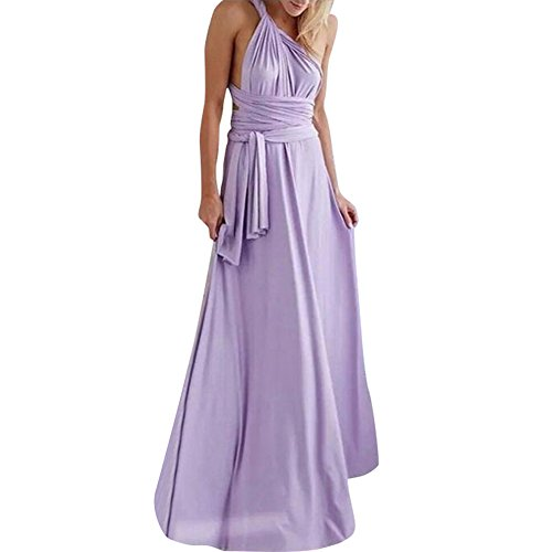 Lover-Beauty Kleider Damen V-Ausschnitt Rückenfrei Neckholder Abendkleider Elegant Cocktailkleid Multi-Way Maxikleid Lang Chiffon Party Kleid - Chiffon-langes Kleid Lila