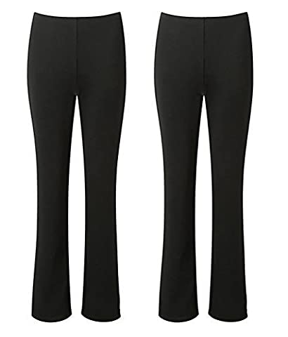 LADIES STRETCH TROUSERS PACK OF 2 BOOTLEG STRETCH RIBBED TROUSERS BLACK SIZE 8-26 (8, BLACK REGULAR (30