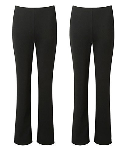 LADIES STRETCH TROUSERS PACK OF 2 BOOTLEG STRETCH RIBBED TROUSERS BLACK SIZE 8-26 (12, BLACK REGULAR (30