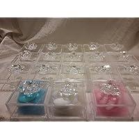 Flores Cristal Swarovski con caja de Plex y tul Confetti y bombonera nacimiento bautizo y Comunión