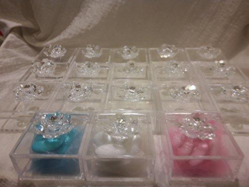 Fiorellini cristallo swarovski con scatola in plex e tulle confetti e bigliettino bomboniera nascita battesimo e comunione