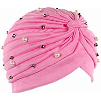 Bobury Mujeres Artificial Perla Turbante Sombrero Pérdida de Cabello Cáncer  Cabeza Pañuelos Quimioterapia ... 3c6730f4f59