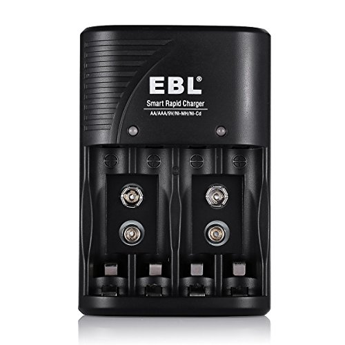 EBL Battery Charger for AA, AAA, 9V Ni-MH Ni-CD Rechargeable Batteries (3 in 1)