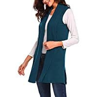 Women Vest Long Coat, Ladies Solid Sleeveless Lightweight Open Front Cardigan Tank Tops Jacket Coat