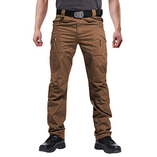FEDTOSING Cargohose Herren Vintage Militär Tactical Hosen mit Stretch Arbeitshose Outdoor Viele Taschen Leichte Baumwolle(EUBraun L)