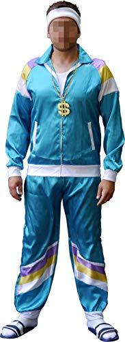 Männer Jahre Kostüm Der 80er - Fashionpower 80er Jahre Retro Trainingsanzug Kostüm mit Kette und Stirnband