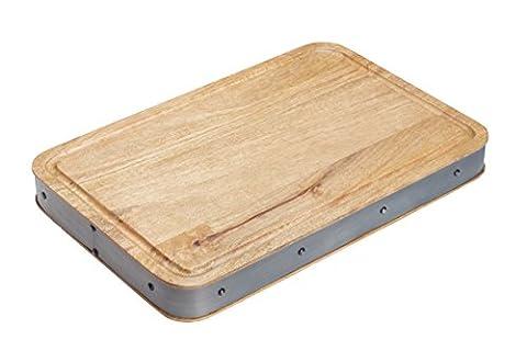 Kitchen Craft INDBBOARDREC Planche à Découper Métal/Bois Beige/Gris 28 x 18 x 18 cm