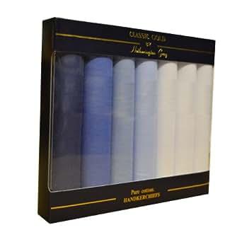 7 paquets de mouchoirs homme mis en boîte 100% coton bleu teint