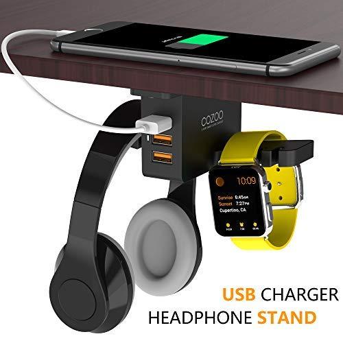 Kopfhörer Ständer mit USB Ladegerät cozoo unter Schreibtisch Headset Halter Halterung mit 3Port USB Ladestation und Apple Watch Ständer Smart Watch Charging Dock Dual Kopfhörer Aufhänger Haken für alle Kopfhörer (Schreibtisch-headset-ständer)