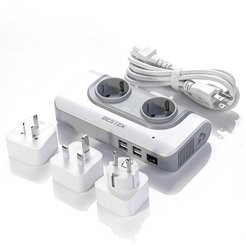 BESTEK 200W Spannungswandler mit 4 USB Reiseladegerät 110v auf 230v Reiseadapter Stromwandler mit austauschbare UK, EU, AU Reisestecker für Reisen nach USA, Kanada, Australien, China,Thailand weiß