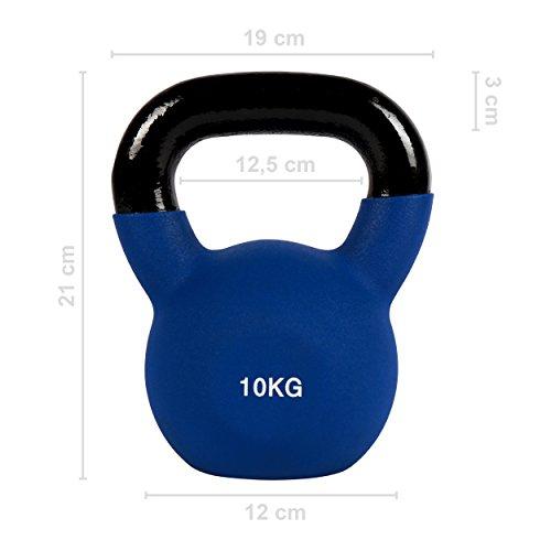 Kettlebell Neopren 2 – 30 kg inkl. Übungsposter (10 Kg - Dunkelblau) Kugelhantel - 2
