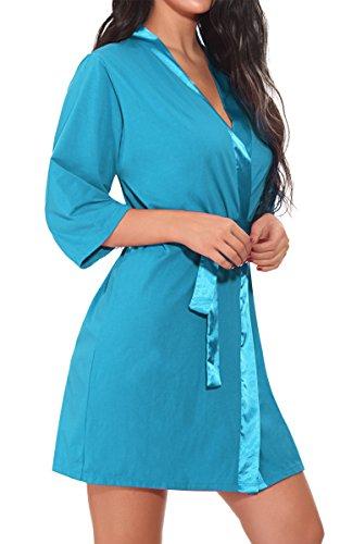 BMAKA Damen Morgenmantel Kimono Baumwolle Satin V-Ausschnitt Bademantel Nachtwäsche mit Gürtel Blau
