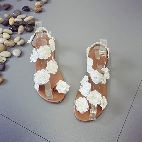 MENGLTX High Heels Sandalen Große Sandalen Weibliche Sommer Neue Flache Unterseite Wilde Student Blumen Urlaub Am Meer Fairy Wind Strand Schuhe, Weiße Rose, 39 -