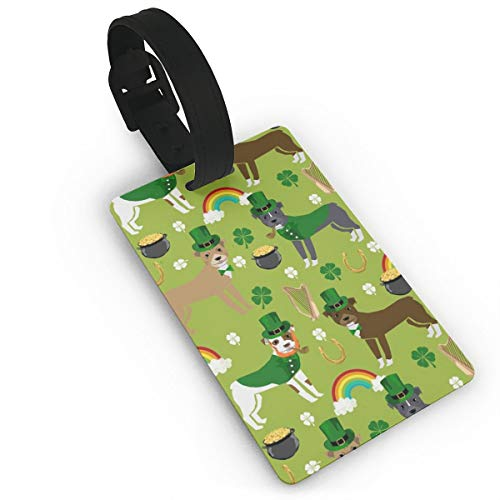 Pitbull Leprechaun - St Pattys Day St. Patricks Day Dog Design - Lime Travel Luggage Tags Name ID Identification Labels Set for Bags Baggage Suitcases Thick PVC Wristband (Hats Pattys Tag St)