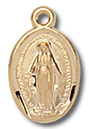 14K Gold über Sterling Silber 1/5,1cm Oval Wundertätige Medaille Anhänger (Wundertätige Medaille 14k Gold)