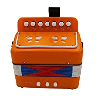 7 Keys 2 Bass Accordion Kids Accordion Toy Solo Ensemble Instrument Musical Educational Instrument for Early Childhood Teaching Orange