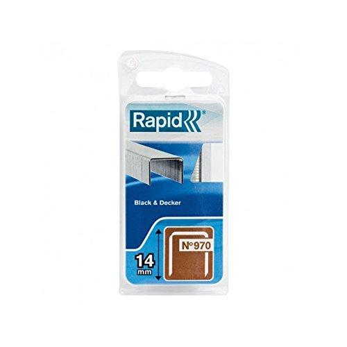 Rapid, 40109553, Agrafes en fil plat N°970, Longueur 14mm, 672 pièces, Pour les outils Black&Decker, Fil galvanisé