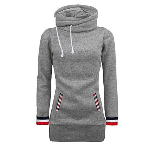 QQI Femme Hiver Manteau Veste à Capuche Hoodie Sport Sweat shirt Casual Sweatshirt Jumper Sport Hauts Tops Pullover Blouse Blouson Gris