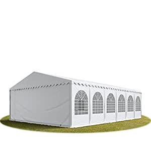 Tente de réception 7x12 m, toile de haute qualité 550g/m² PVC blanc, cadre desol,construction en acier galvanisé, fixation par vissage, hauteur de côté de 2,6m