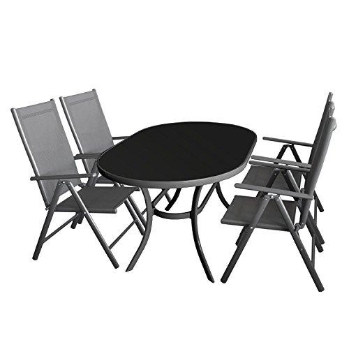 5tlg. Gartengarnitur Aluminium Glastisch 140x90cm mit schwarzer Tischglasplatte + Alu Hochlehner 7-Positionen 2x2 Textilenbespannung Sitzgarnitur Sitzgruppe Anthrazit