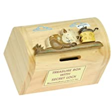 Cat, Mouse & Cheese Money Box with Secret Lock : Handcrafted Wooden Treasure Chest : Top Christmas Gift Idea : High Quality Traditional Xmas Present For Boys, For Girls, For Him, For Her, For Children & For Fun Loving Adults! 30+ Designs (Size 12x9x7cm)