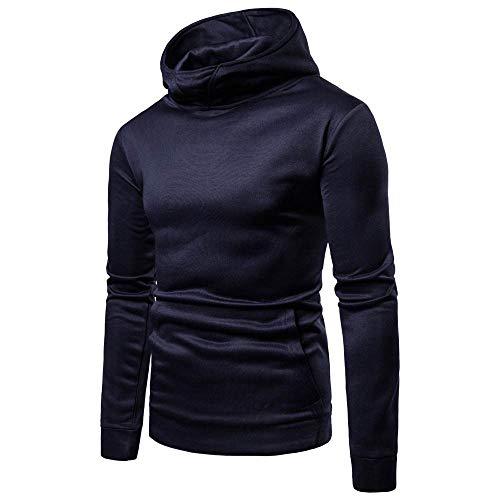 Feitong Herren Pullover, Männer Reine Farbe Reißverschluss Pullover Lange Ärmel Kapuzensweatshirt Tops Bluse(EU-48/Size-L, Marine) (Aeropostale Tops Fashion)