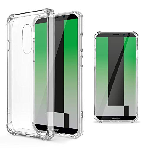 Moozy Transparent Silikon Hülle für Huawei Mate 10 Lite - Stoßfest Klar TPU Case Handyhülle Schutzhülle