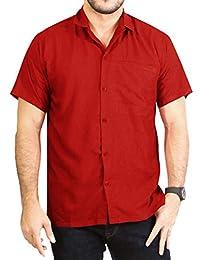 *La Leela* Rayón Suelta Aloha Hawaiano Botón de Manga Corta Camisa de los Hombres Abajo Hawaiano Negro JDC0O