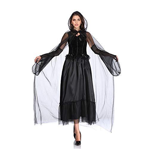 Cape Für Erwachsene Black Kostüm Ghost - Halloween Kleider Damen, Skeleton Ghost Braut Kostüme, Hexenkostüm Uniformen,Black,XL