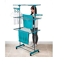 The original Maxi Compact! Indoor tower airer XL with 21 folding bars and wheels - vertical clothesline! clothes horse foldable space-saving racks rapid drying cloth rack dryer tumble drying