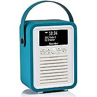 VQ Retro Mini DAB y DAB + Radio digital con FM, Bluetooth y Reloj despertador