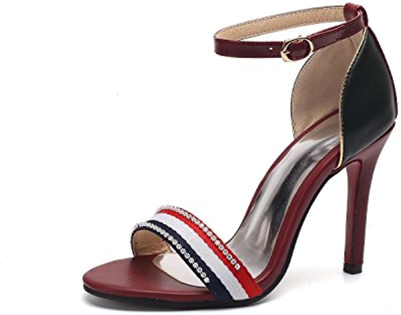 b95f08b6d9d86f AIKAKA Women s Shoes Spring Summer high Heel Heel Heel Word Buckle Rhinestone  Sandals B07DXYXXM2 Parent 2cb9e0