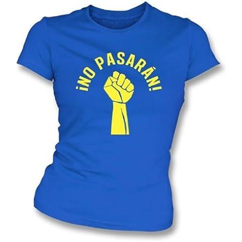 Ningún Pasaran como llevado por la camiseta del ajustado de la muchacha del alboroto del gatito X-Grande, colorea el azul