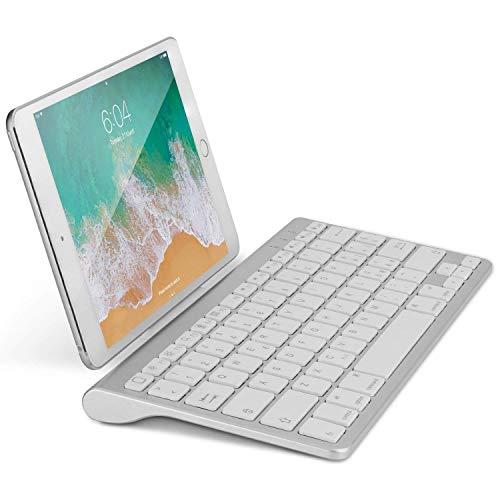 OMOTON Tastiera Bluetooth Wireless per iPad - Ultrasottile con Supporto Estraibile - Compatibile con iPad PRO, iPad Air, iPad Mini e Tutti i Tablet Apple [Bianco]