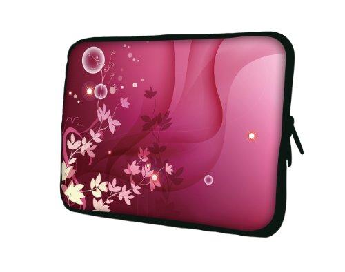 wortek Universal Notebooktasche Sleeve aus Neopren für Laptop bis ca. 10,2 Zoll - Pink Weiß Blumen Ranke