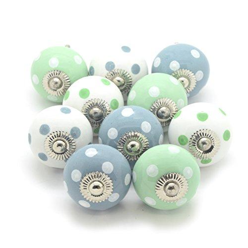 Juego de 10verde y gris pintado lunares, lunares pomos de cerámica para puerta de armario de cristal para el hogar muebles e interiores