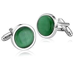 Idea Regalo - Gemelli Uomo Acciaio Inossidabile Argento Verde Tuta Cufflinks per Uomo Tondo Smeraldo Opale Camicia Tuta Gemelli da Uomo dai Gioielli Adisaer