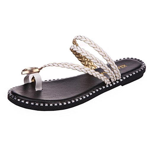 Ularma Damen Flip Flops Strass Sandalen Kunstleder Zehentrenner Sommer Casual Flache Schuhe Weiß