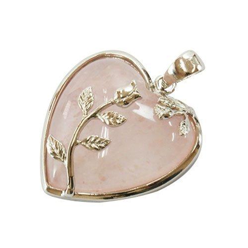 1 x Rosa Quarzo 35mm Pendente (Cuore) - (HA01010) - Charming Beads - Quarzo Rosa Cuore