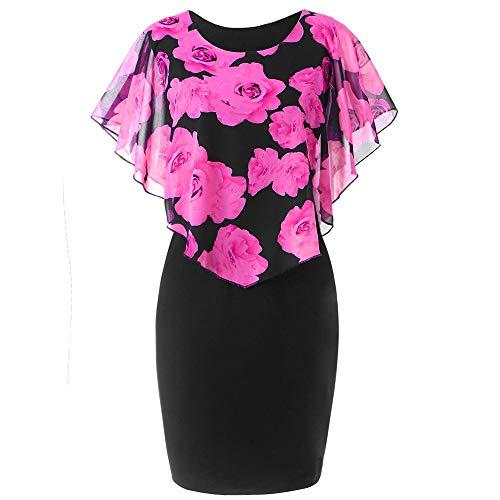 feiXIANG Damen Kleider Rüschenärmel Vintage Sommerkleid Womens Große Größe Chiffon O-Neck Casual Bleistiftrock Minikleid(A/Heiß Rosa,XXL)