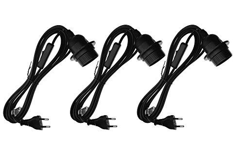 Trango 3er Pack E27 Lampenfassung mit Schalter - E27 Fassung Schwarz mit 3,5m Netzkabel Schraubring Schalter - Lampenaufhängung Pendelleuchte Hängeleuchte 3TG1011-350B