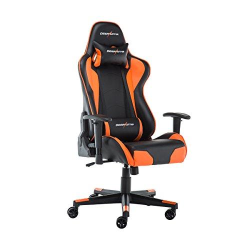 Deerhunter, Gaming Stuhl. Schreibtischstuhl, Leder Bürostuhl, Ergonomisches Design, Rascing Sessel,mit Kopfkissen und Lendenkissen, Orange